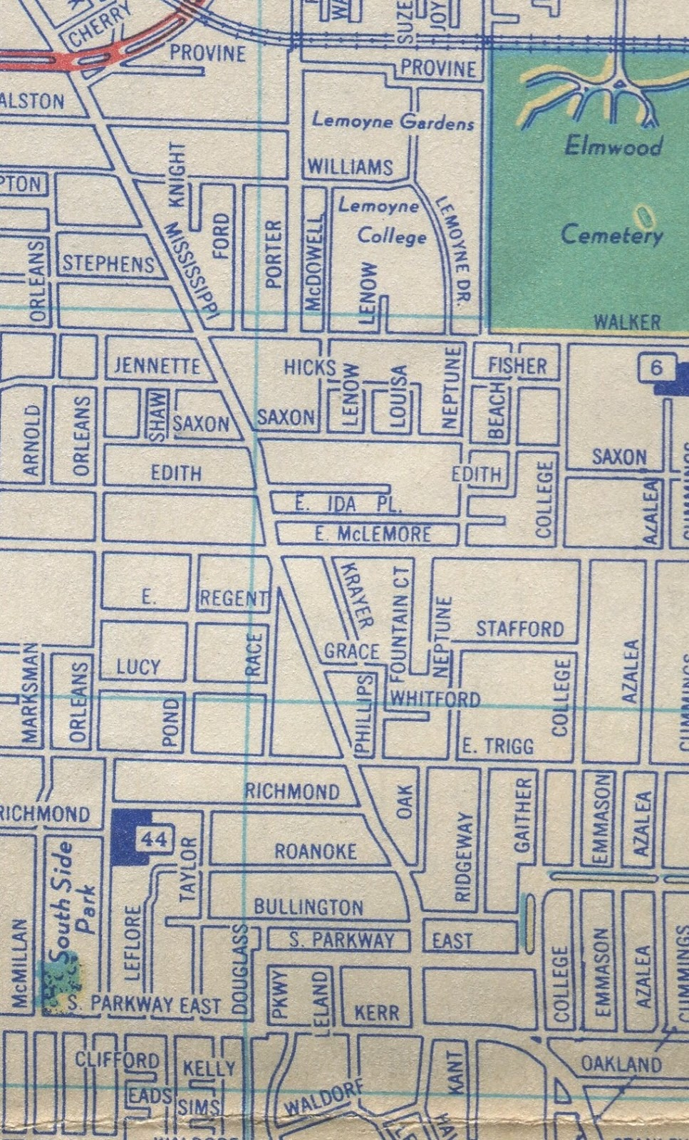 this 1951 map shows the section of mississippi blvd pictured in the photo above the other way around of course