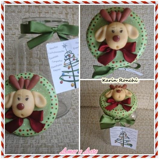 Vidro decorado em biscuit, motivos natalinos, Rena