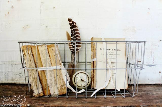 Vintage Industrial Wire Storage Basket via KnickofTimeInteriors.blogspot.com