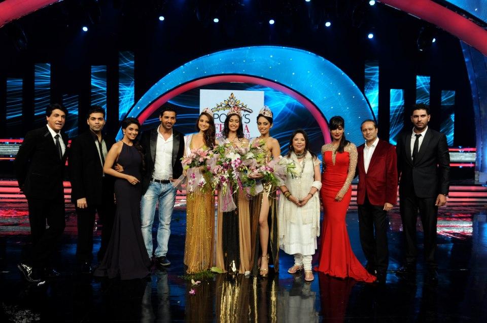 The winners with the judges (Shiamak Davar, Karan Johar, Asin, John Abraham, Ritu Kumar, Chitrangada Singh, Yuvraj Singh)  during the Ponds Femina Miss India 2013 beauty pageant held at Yash Raj Studios in Mumbai on March 24, 2013.