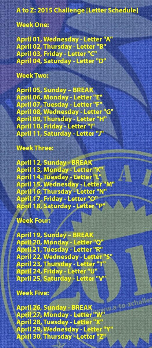 #AtoZChallenge schedule