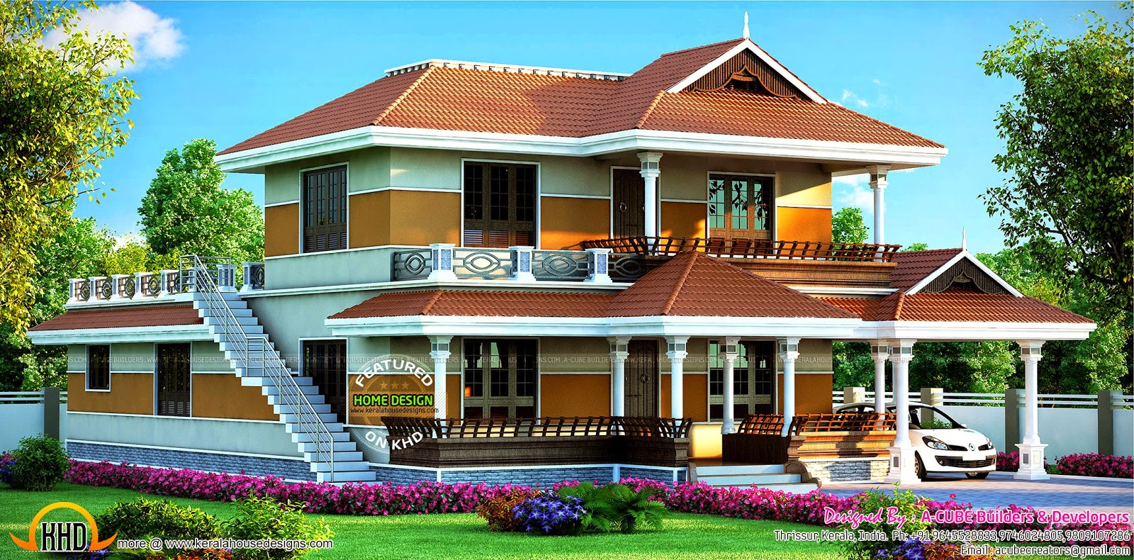 2547 sq ft beautiful kerala house kerala home design and for Beautiful houses pictures in kerala