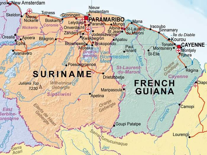 Online Maps Suriname and French Guiana