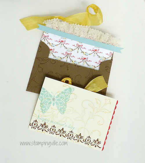 Scallop Envelope Interior and Hand Stamped Enclosure Card