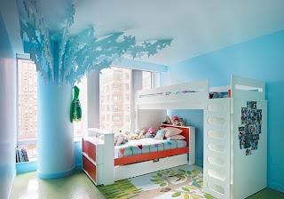 dormitorio de niña celeste