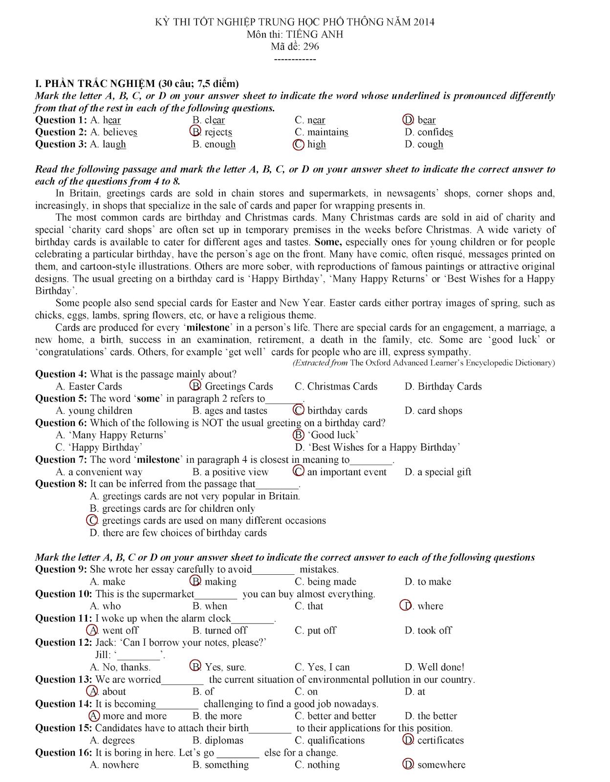 Đề thi tốt nghiệp tiếng Anh 2014, trang 1