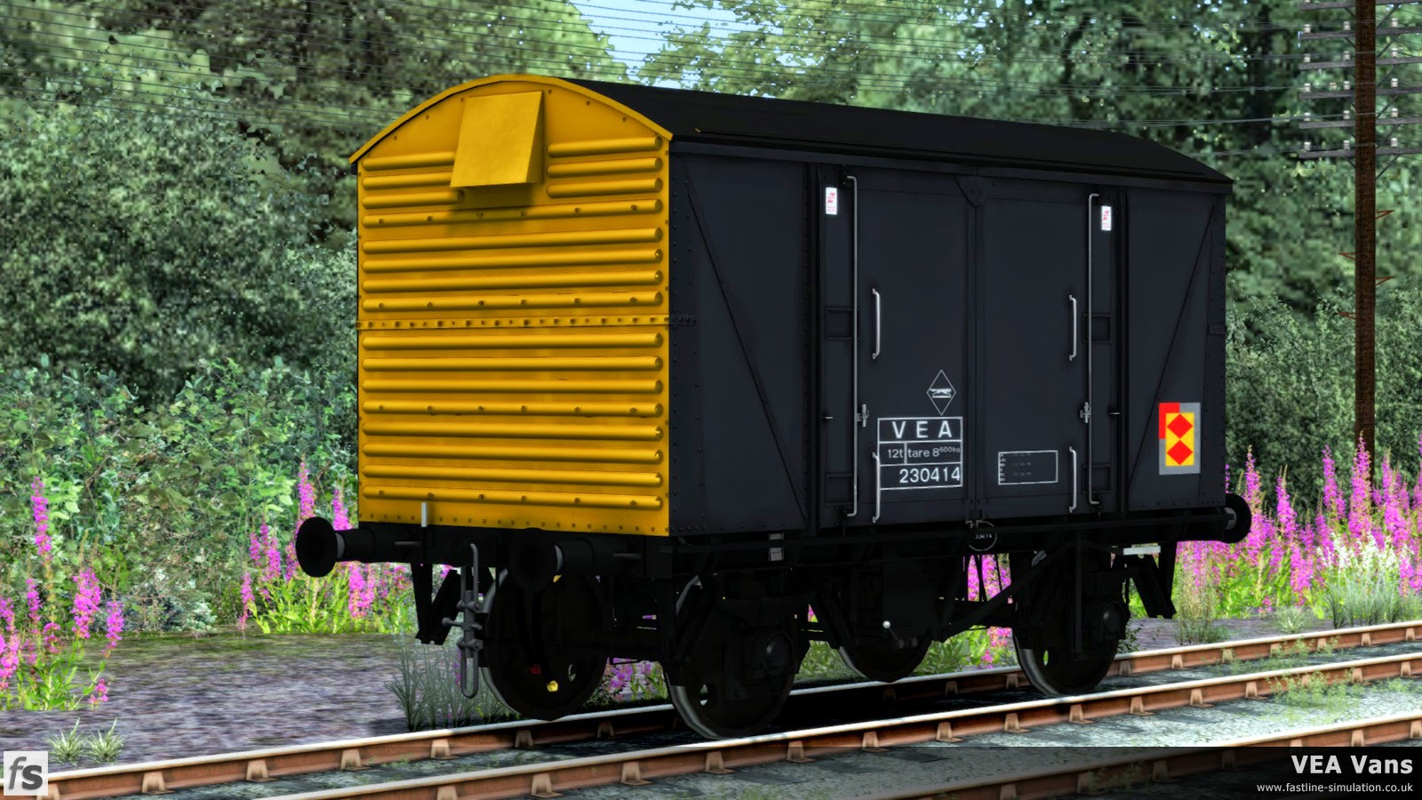 Fastline Simulation - VEA Vans: At least six VEA conversions were treated to Railfreight sector livery complete with Railfreight Distribution decals as British Rail was broken up into individual businesses.