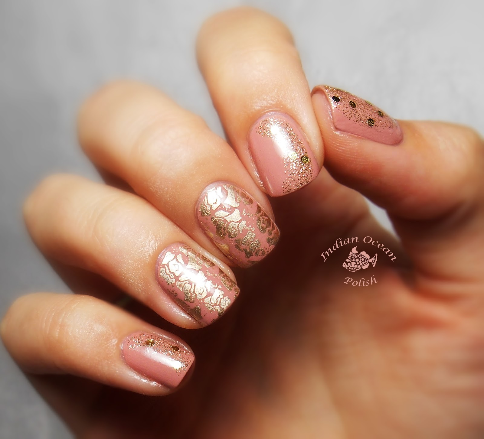 Indian Ocean Polish: Pink, Gold and Rose Nails