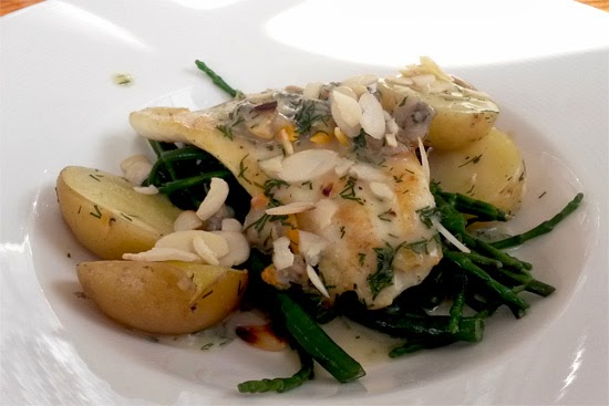 Turbot with samphire and cockles.