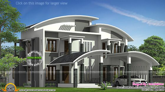 Curved roof house plan