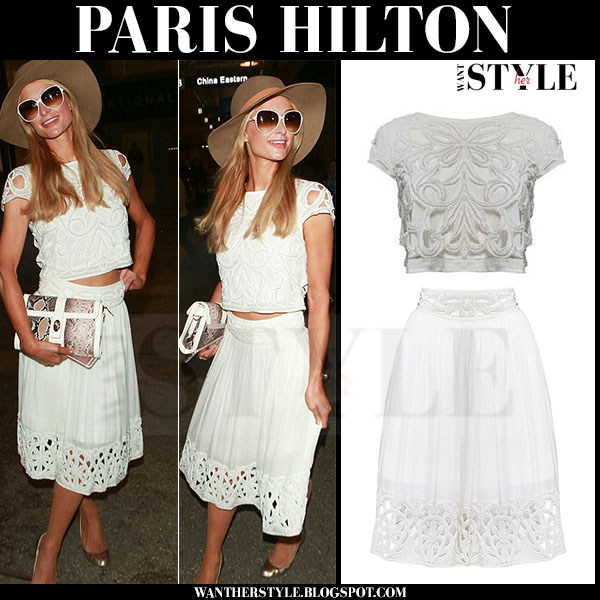 Paris Hilton in white alice olivia abbi crop top and white midi skirt alice olivia joanna what she wore
