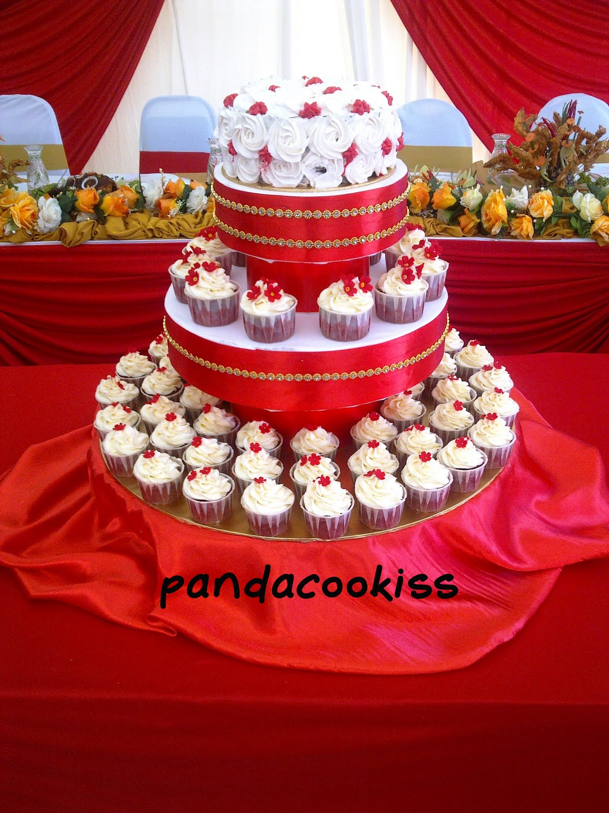 pandacookiss Julia s Red Gold wedding cake tower