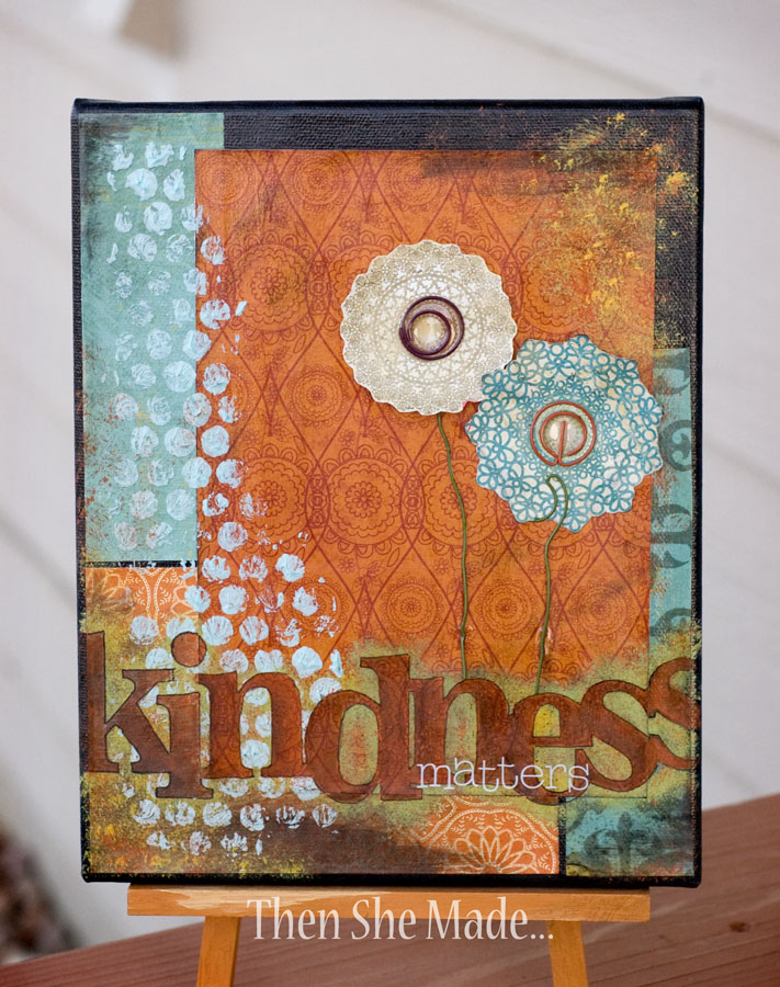 Then she made use it up mixed media canvas for Mixed media canvas art ideas