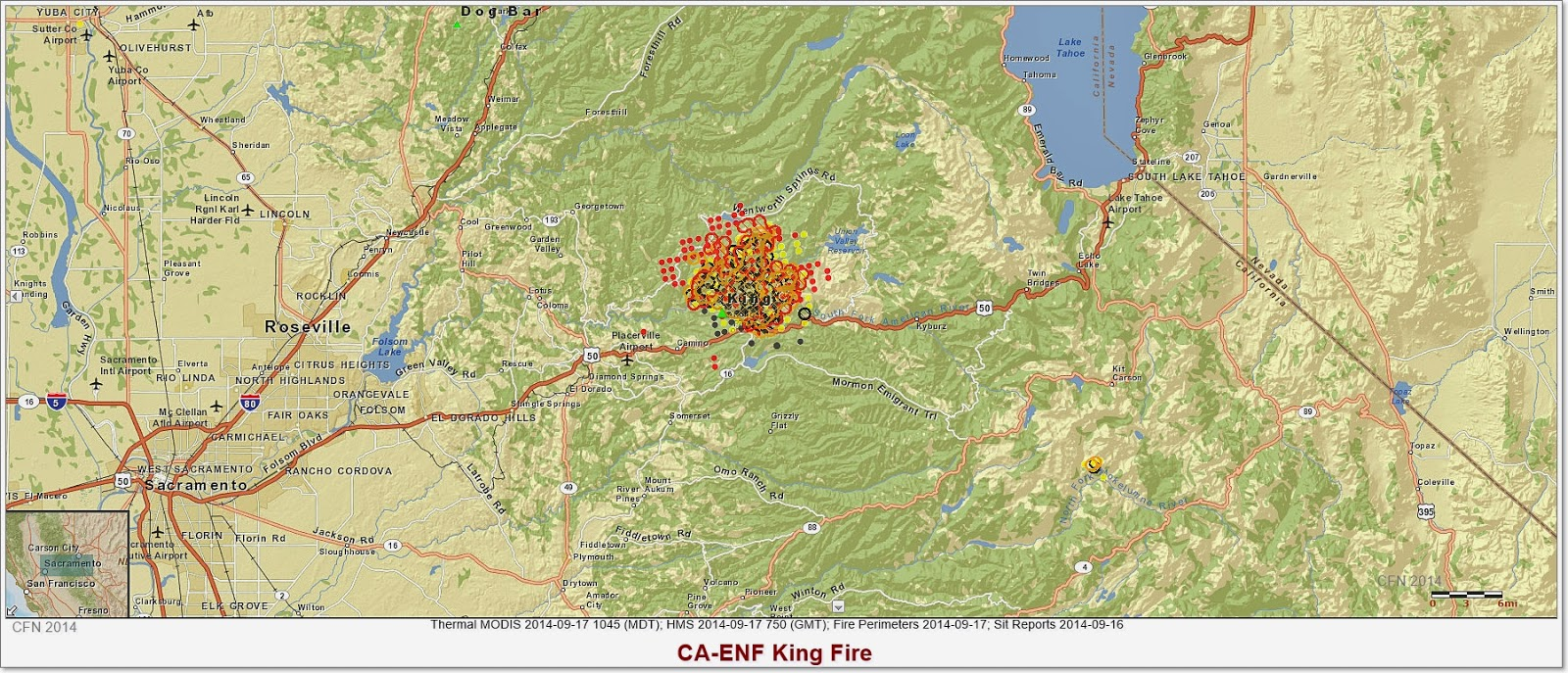 KING FIRE HOTSPOT AND PERIMETER MAP