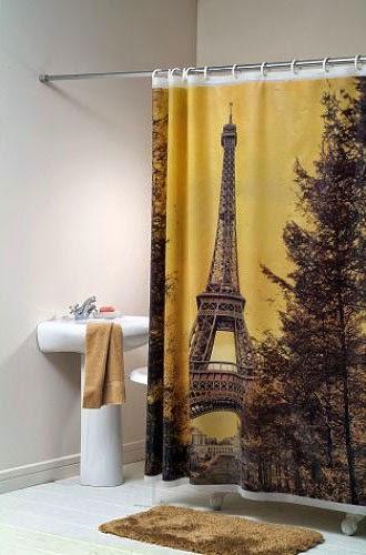 Curtain Ideas Paris Themed Bathroom Shower Curtain