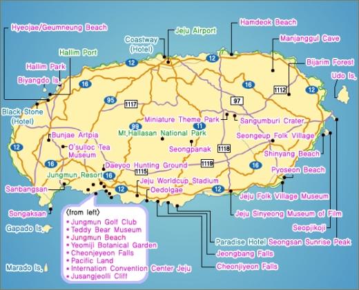 A ilha Jeju  - Mapa