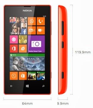 Dimensi Nokia Lumia 525