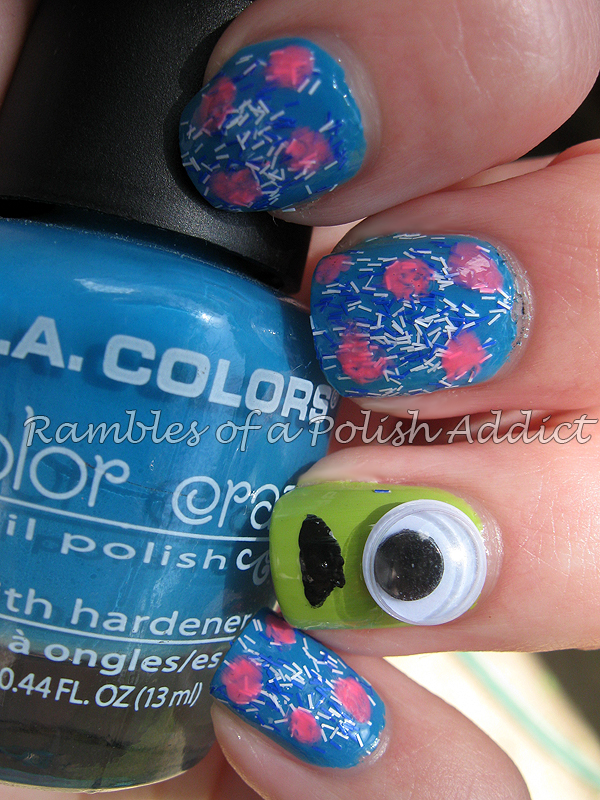 la colors aquatic pink bubbles sally hansen green with envy fuzzy coat tight knit monsters inc disney nail art