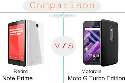 Redmi Note Prime versus Motorola Moto G Turbo Edition specifications and features comparison RAM,Display,Processor,Memory,Battery,camera,connectivity,special feature etc. Compare Motorola Moto G Turbo Edition and Redmi Note Prime in all features and price,Shopping offers,coupens.