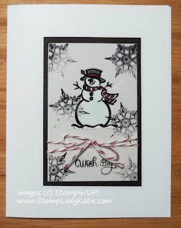 Card made with the Snowman image from Stampin'UP!'s Best of Snow Stamp Set.