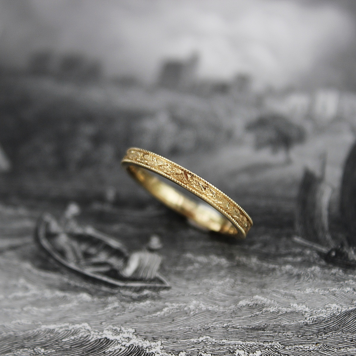 rings unique vintage engraved ring walls hello floral wedding bands rust and lifestyle