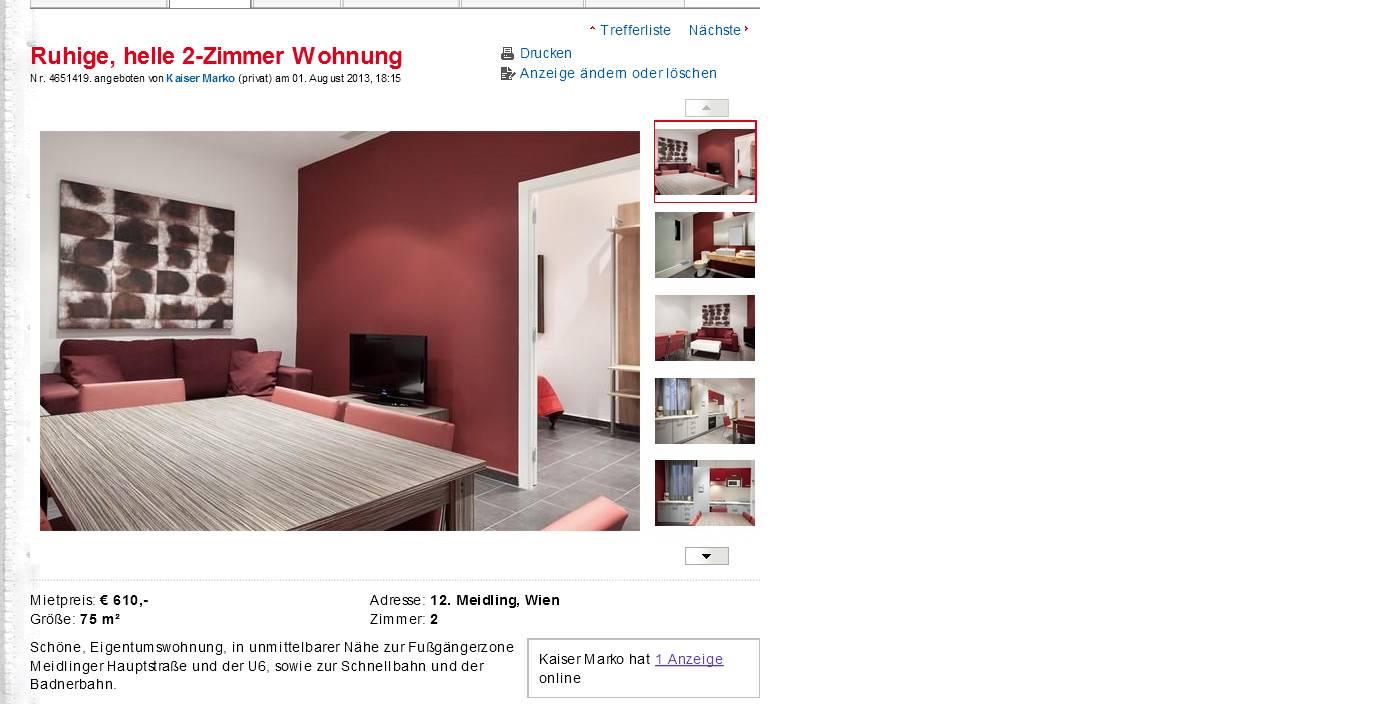 ruhige helle 2 zimmer wohnung 12 meidling wien vorkassebetrug fraud scam. Black Bedroom Furniture Sets. Home Design Ideas