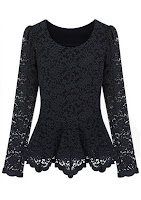 Black Long Sleeve with Ruffles