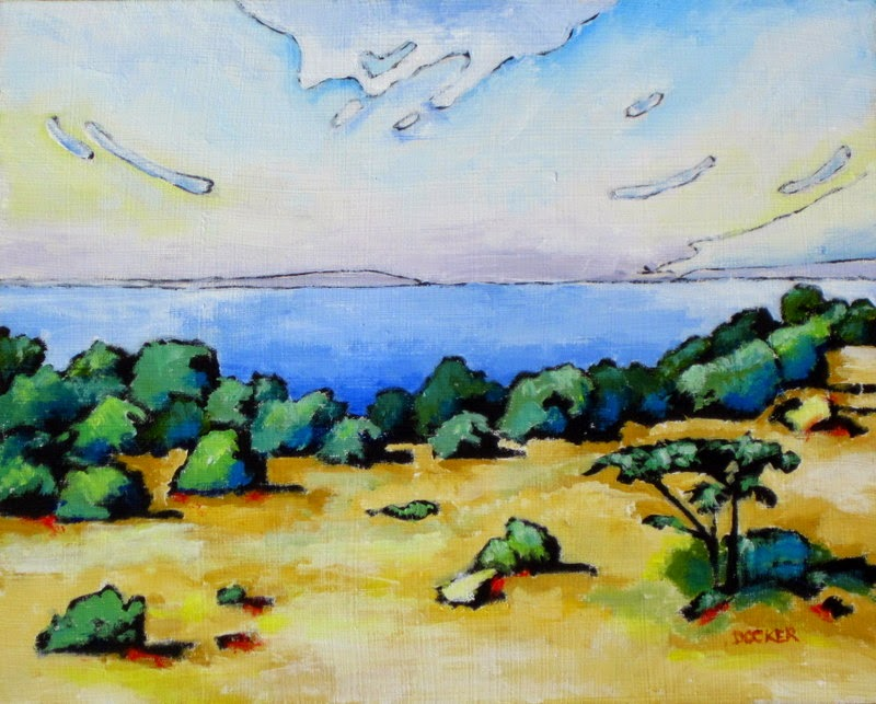 original landscape with lake painting croatia bruce docker