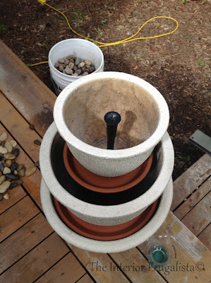 Step Seven of building a plant pot water fountain