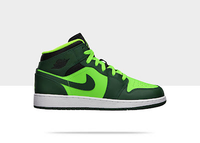 Air Jordan 1 Mid (3.5y-7y) Boys' Shoe Gorge Green/Black-Electric Green, Style - Color # 554725-330
