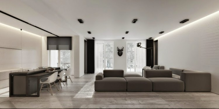 Modern False Ceiling LED Lights Gray And White Interior With