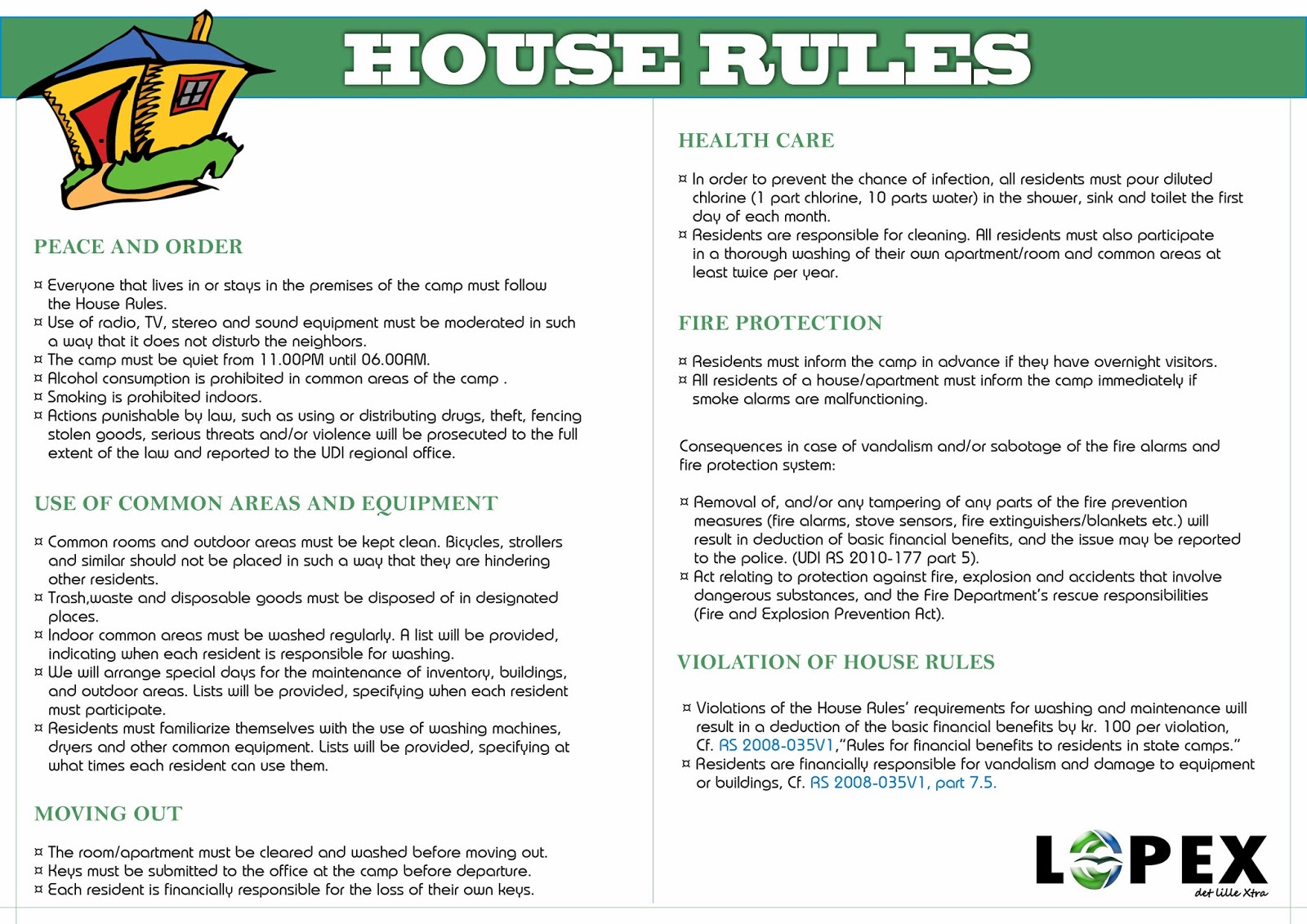 House rules kvinesdal mottak for Rental house rules template