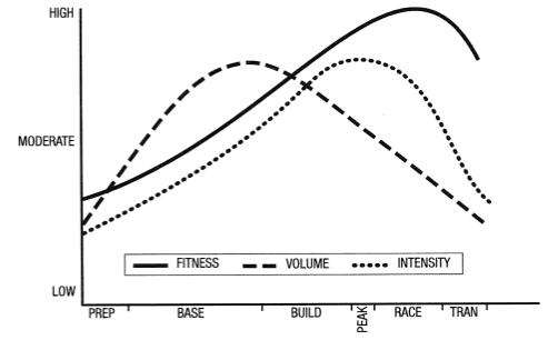 ピリオダイゼーション:練習量、練習強度、体力の関係