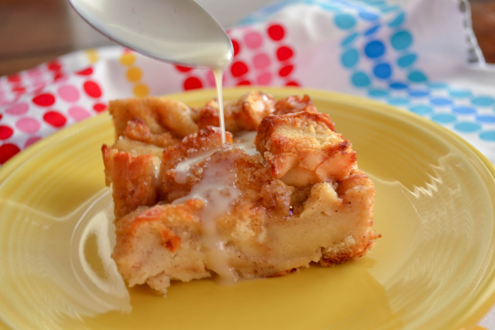 Old fashioned bread pudding with vanilla sauce 54