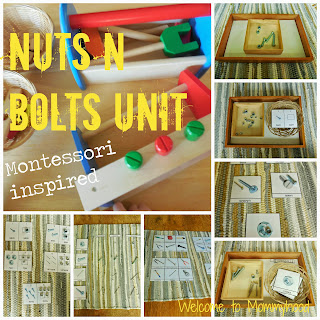 Montessori Inspired Preschool Activities: Nuts and Bolts (tools) Free printables for Preschool & Kindergarten by Welcome to Mommyhood #Montessori #freeprintables