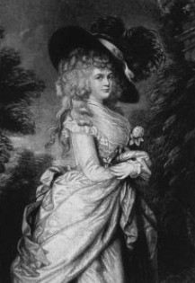 "Georgiana Cavendish in the ""picture hat""  after Thomas Gainsborough c1785-7    from The Two Duchesses,   Family Correspondence (1898)"