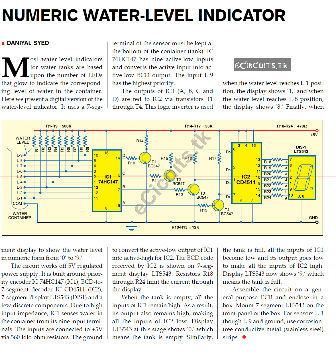 Numeric Water Level Indicator Electronics Circuits For You Multitone Siren Alarm Circuit Diagram