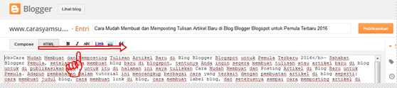 Papan entri blog mode HTML