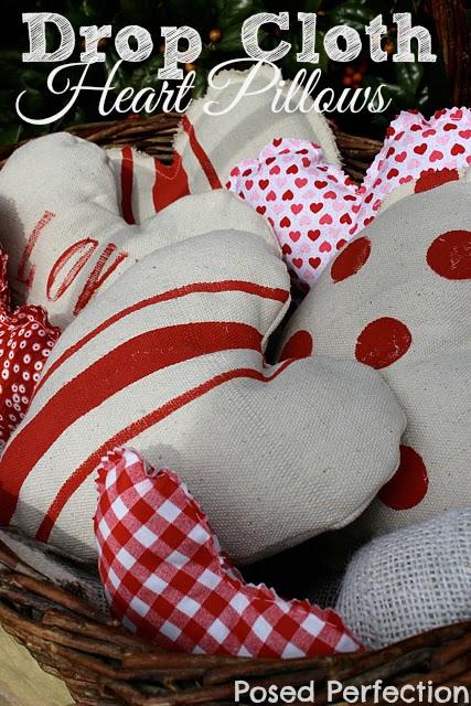Drop Cloth Heart Pillows-Top 10 Crafts/DIY/Tips of 2014