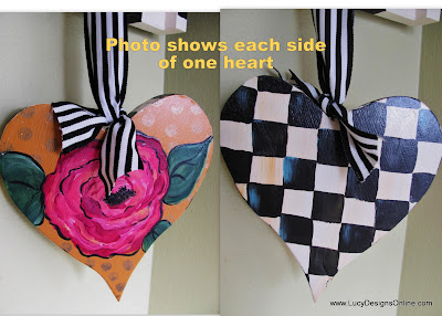 hand painted checked heart