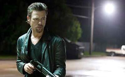 Brad Pitt as Jackie Cogan, fires his gun,, Killing Them Softly, Directed by Andrew Dominik