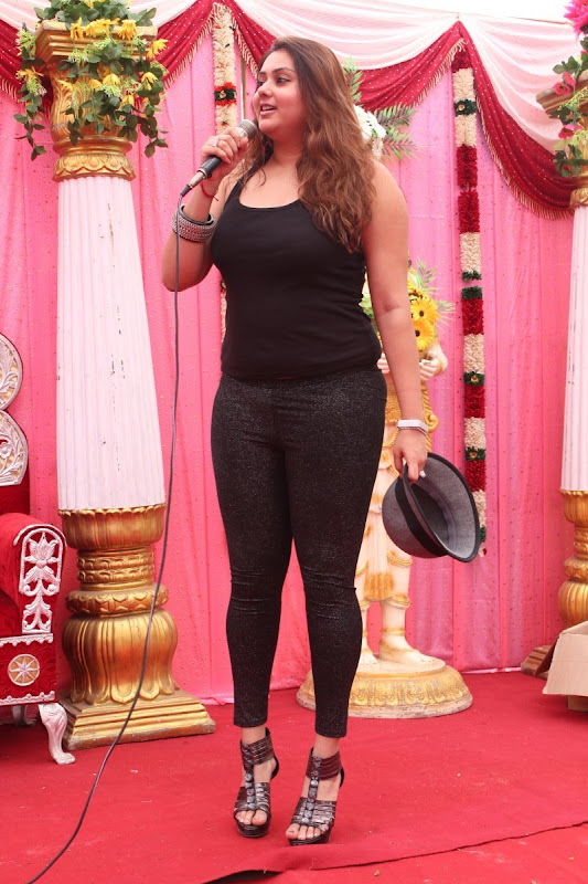 Namitha at JS Paradise Family Marriage Hall Launch Stills navel show