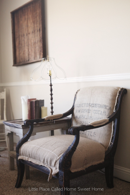 Scrappy styled burlap upholstered chair by Little Place Called Home Sweet Home, featured on I Love That Junk