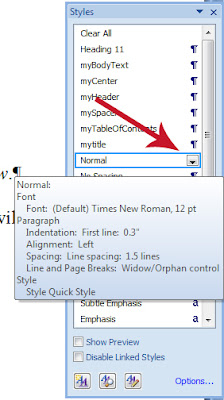Modifying MS Word Styles