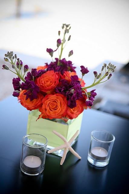 Eggplant and tangerine wedding