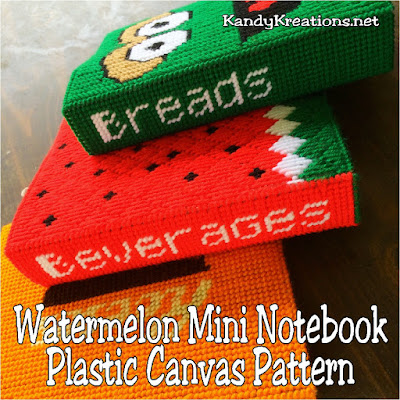 Get organized with these fun and easy mini notebook free plastic canvas patterns.  This watermelon notebook cover is a fun way to decorate with inspiration and a little bit of sweetness using the free plastic canvas mini notebook pattern and alphabet.