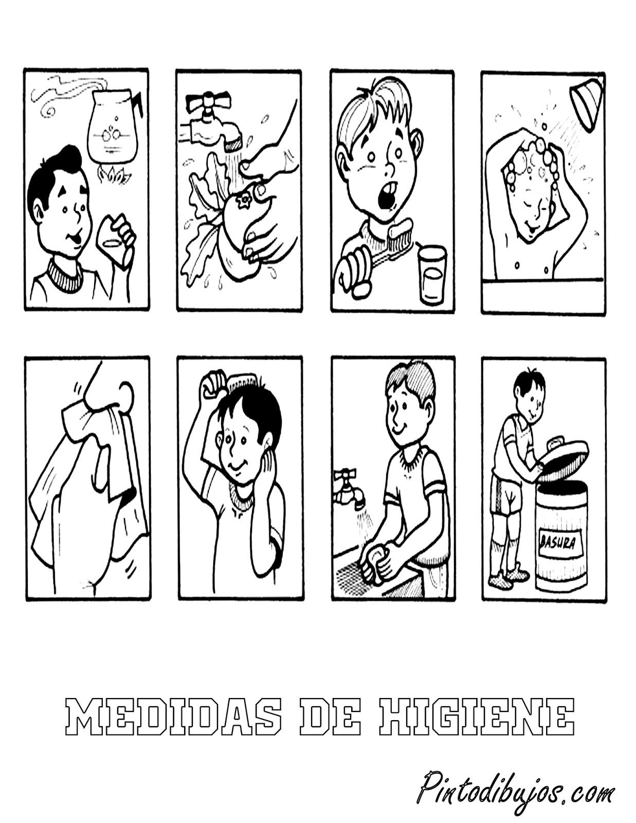 Pinto Dibujos: Medidas de Higiene para colorear | Higiene para niños