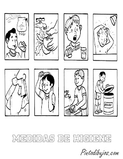 Medidas de Higiene para colorear | Higiene para niños