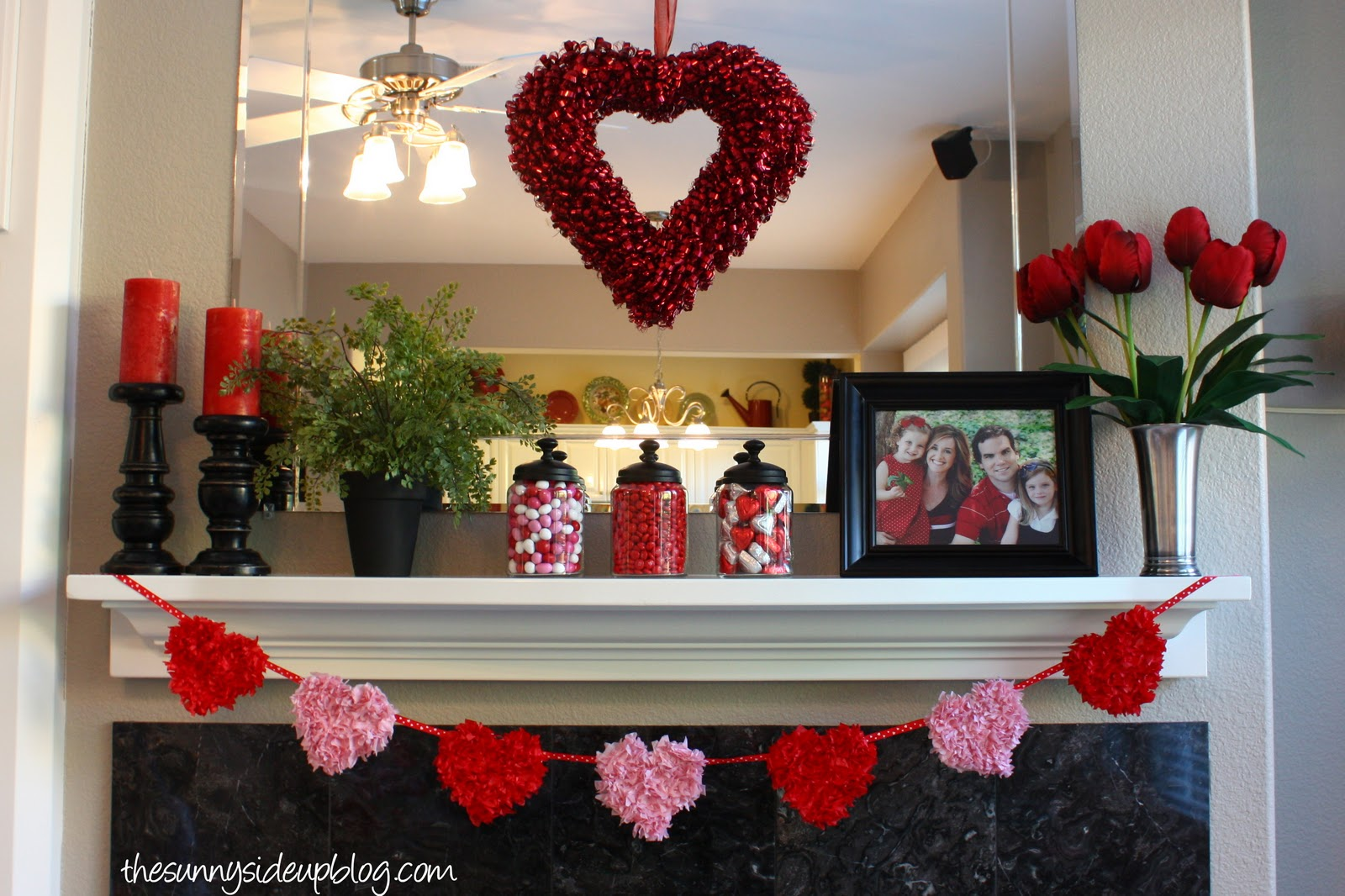 Winter and valentines mantel the sunny side up blog for B day decoration at home