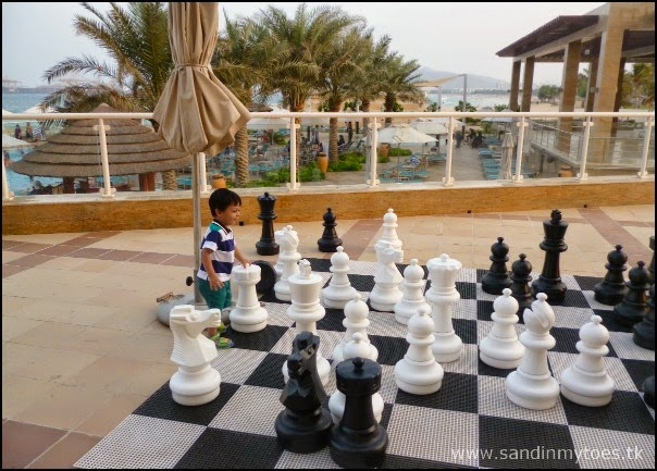 Pool side giant chess board
